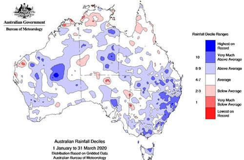 A map showing the rainfall across Australia in the first three months of this year.