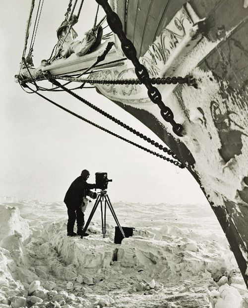 Frank Hurley recording the plight of the Shackleton expedition in 1915. (AP).