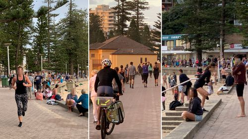People flouting social distancing requirements have been photographed at Manly Beach.