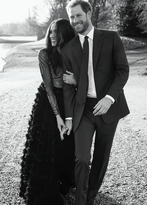 Meghan wore a  Ralph & Russo dress for her engagement photographs. There is speculation the British-based designers will be make her wedding dress. (PA/AAP)