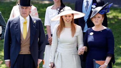 Princess Beatrice with Prince Andrew and Sarah Ferguson at Royal Ascot, June 2018