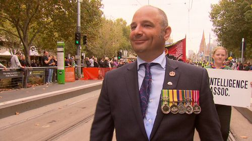 Mr Saly marched in today's Anzac Day parade.