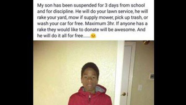 A mother's unique punishment has gone viral. Image: Facebook/ Demetrus Payne.