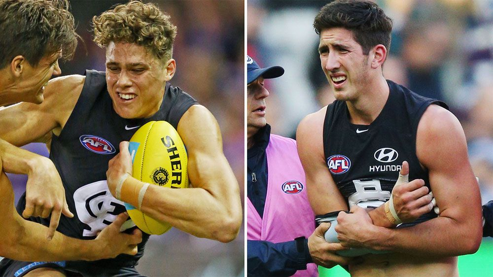 Carlton have lost Charlie Curnow (L) and Jacob Weitering. (Getty)