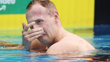 A distraught Matthew Wilson after just missing out on qualifying in the Men's 200 metre Breaststroke during the Australian National Olympic Swimming Trials in Adelaide.