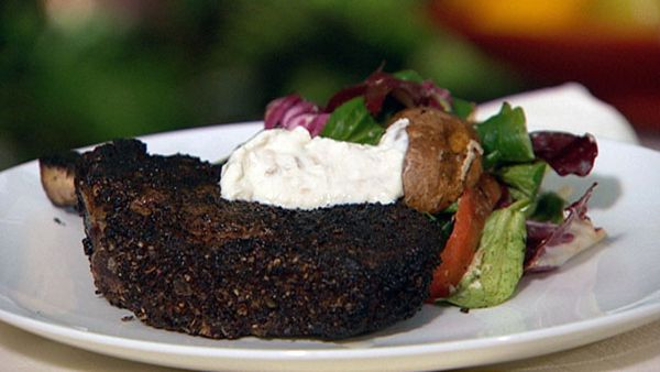 Kimel crusted prime rib with barbecue salad and horse radish