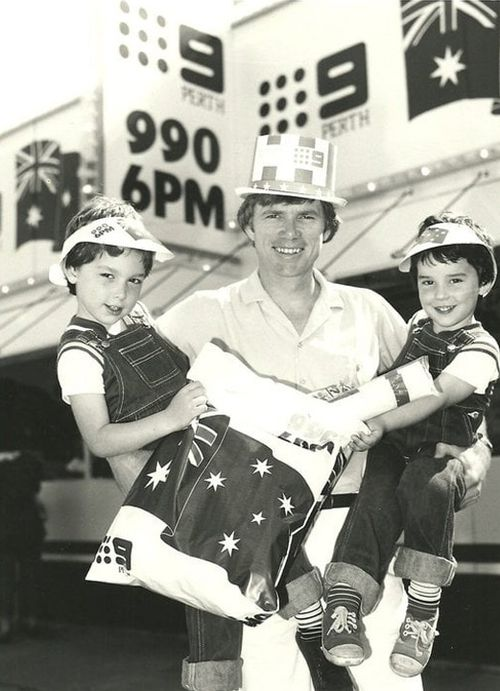Channel Nine broadcaster Russell Goodrick with sons Tom and Rodney.