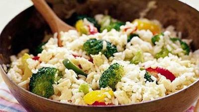 "Recipe: <a href=""http://kitchen.nine.com.au/2016/05/16/18/11/easy-vegetarian-fried-rice"" target=""_top"">Easy vegetarian fried rice</a>"