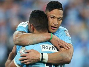 Israel Folau and Kurtley Beale. (Getty)