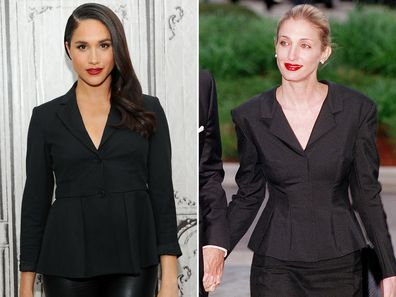 Meghan Markle in 2016; Carolyn Bessette Kennedy in 1999.