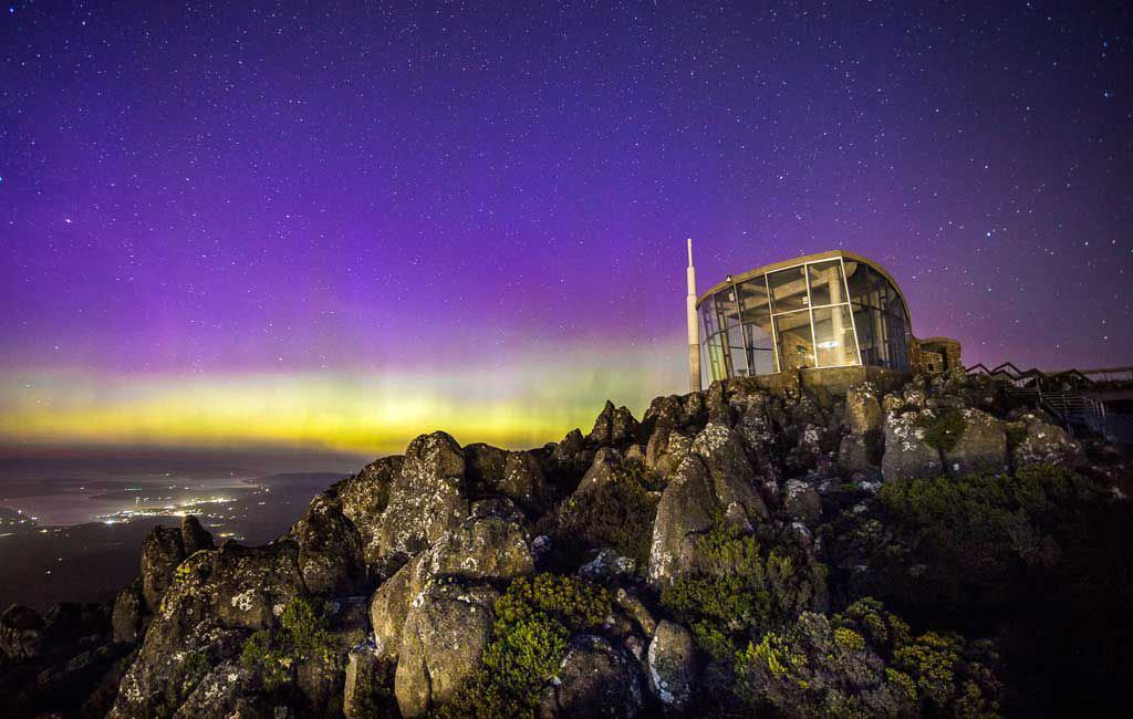 Aurora over Mt. Wellington. Image iStock
