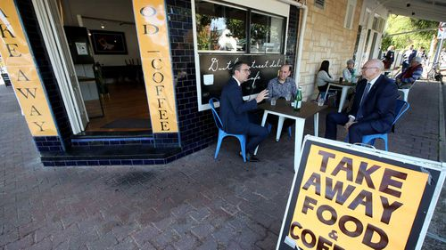 Premier Steven Marshall said cafes and restaurants will be allowed to serve 10 customers indoors from Friday.