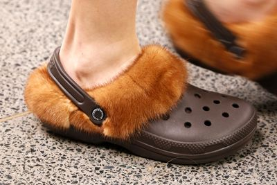 """Christopher Kane puts all other footwear to shame, with a furry take on the classic """" Croc""""."""