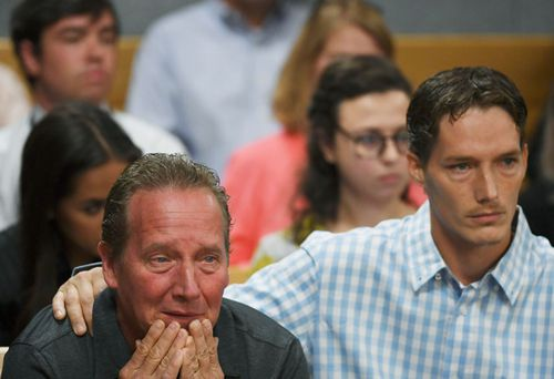 Frank Rzucek the father of Shanann Watts, left, and her brother Frankie Rzucek attended court for Christopher Watts' arraignment hearing at the Weld County Courthouse.
