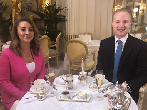 Laura Turner with Britain's leader etiquette expert, William Hanson.