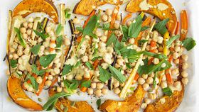 Pumpkin and chickpea one pan with hummus dressing