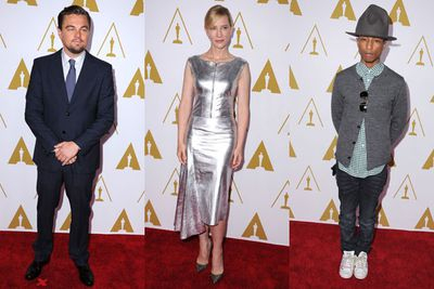 It was a total schmooze-fest this weekend as Hollywood's elite stepped out for a special Academy Award Nominees Luncheon. Stars such as Leonardo DiCaprio, Cate Blanchett and Pharrell Williams suited up for the occasion. Check out what they wore! <br/>