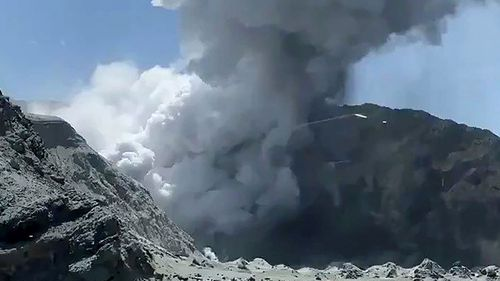 A photo of the eruption on White Island taken by a tourist.