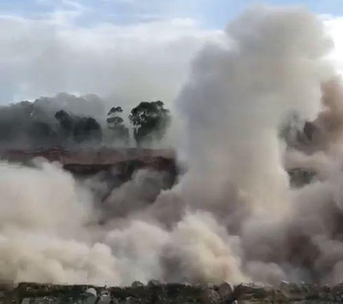 Exploding rock was hurled 200 metres towards onlookers.