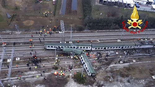 The train derailed about 40km from Milan. (AAP)