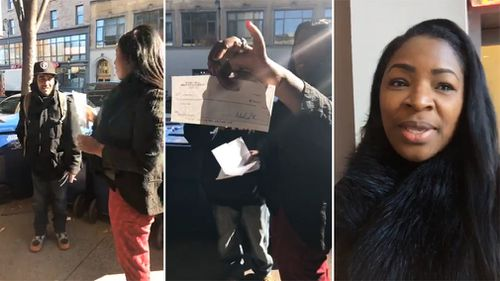 Roberta Hoskie lost the cheque for US$10,000, only for it to be found and returned by homeless man Elmer Alvarez. (Facebook/Roberta Hoskie)