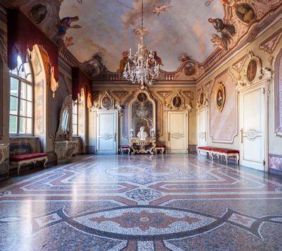Italy, ballroom, Castle Sanazzaro.