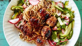 Japanese glazed meatballs with pickled vegetables