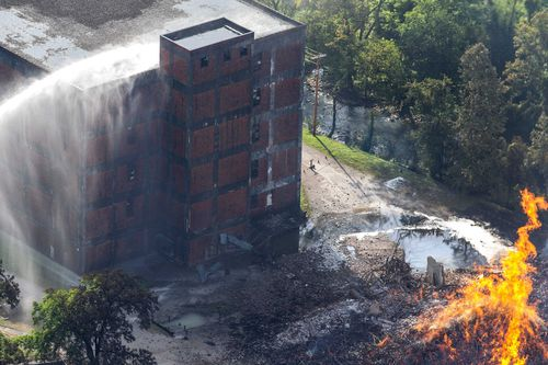 The scene of a bourbon warehouse fire at a Jim Beam distillery in Woodford County, Kentucky.