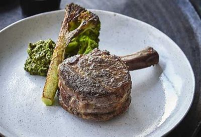 Veal 'chop' and broccoli mole