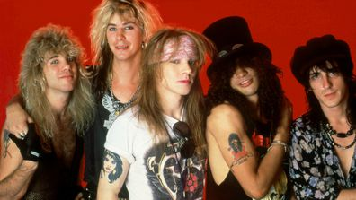 Steven Adler, Duff McCagan, Axl Rose, Slash and Izzy Stradlin of the music group Guns N' Roses pose for a portrait on May 7, 1988