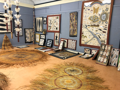 Works of art at Bula'Bula Arts, Ramingining, East Arnhem Land, Northern Territory