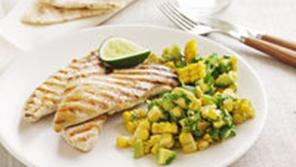 Seared chicken with avocado and corn salsa