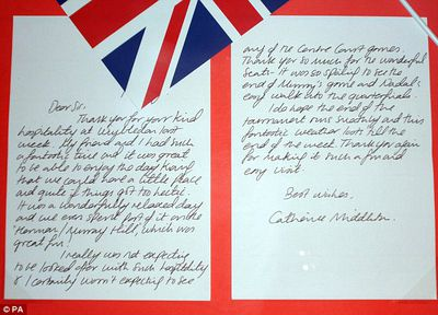 Letter to the All England Tennis Club from Kate Middleton, 2008