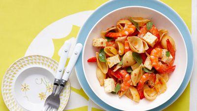 "Recipe:<a href=""http://kitchen.nine.com.au/2016/05/16/18/07/prawn-and-pasta-salad"" target=""_top"">Prawn and pasta salad</a>"