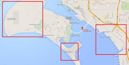 Three US military bases near the San Diego-Coronado Bridge (marked). (Google Maps)