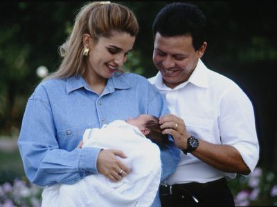 Rania and Abdallah welcome their firstborn son, 1994