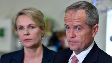 Deputy Opposition Leader Tanya Plibersek (left) and Australian Opposition Leader Bill Shorten (right) are seen during a media conference at the Goodstart Early Learning Nollamara centre in Perth.