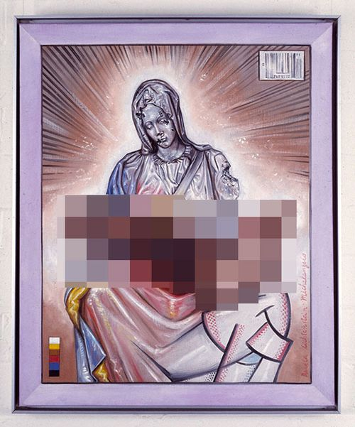 Juan Davila's artwork Holy Family, which has been censored by 9News here, has drawn the ire of Christian groups.