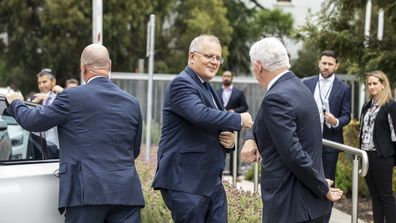 Prime Minister Scott Morrison at pharmaceutical company CSL which is manufacturing Australia's Oxford-AstraZeneca COVID-19 vaccines.