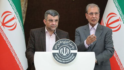Deputy of Iranian health minister Iraj Harirchi (L) standing next to the Iranian government spokesman Ali Rabie (R) during a presser in Tehran, Iran, 24 February 2020 (issued 25 February). Media reported that Harirchi was diagnosed by coronavirus on 25 February