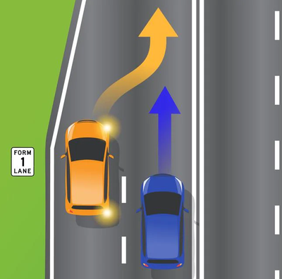 An orange car and blue car are shown in a lane merging scenario.