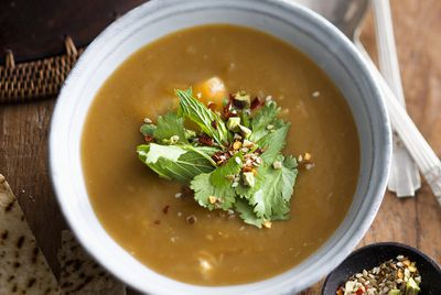 Moroccan roasted sweet potato and chicken soup