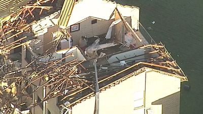 The Mooloolaba area was one of the hardest hit, with homes battered by winds exceeding 100km/h. (9NEWS)