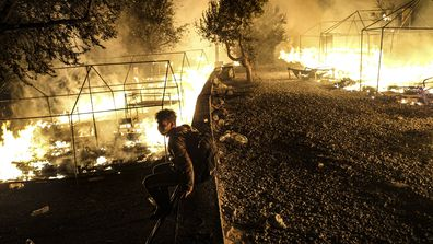 Fire rips through migrant camp in Lesbos, Greece