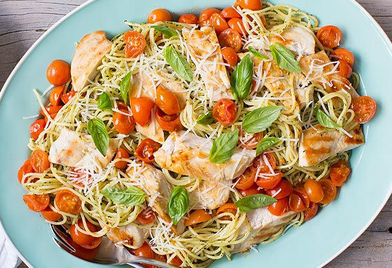 Nadia Lim's grilled chicken and roast cherry tomato pesto spaghetti