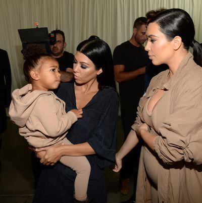 Kourtney Kardashian, North West and Kim Kardashian West.