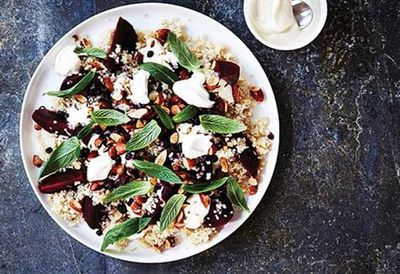 Quinoa and beetroot salad with smoked almonds and currants