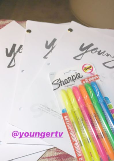 Sutton Foster shares image of scripts for Younger Season 7 on instagram