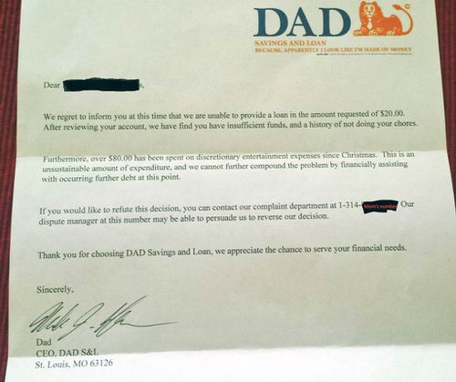 'Dad bank' rejects six-year-old's request for allowance advance