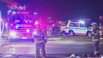 Emergency services on the scene of the suspected arson attack on an Adelaide home.